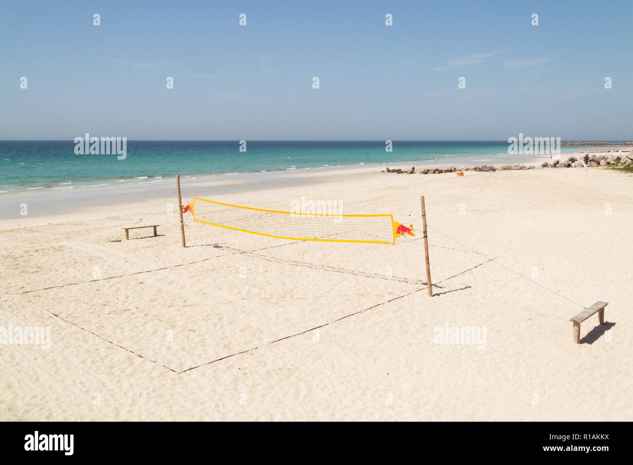 Empty Beach Volleyball Court Ready To Play Game Beach Volleyball Court In A Beautiful Summer Day With Ocean And Blue Cloudy Sky Volleyball Net On The Tropical Beach Stock Photo Alamy