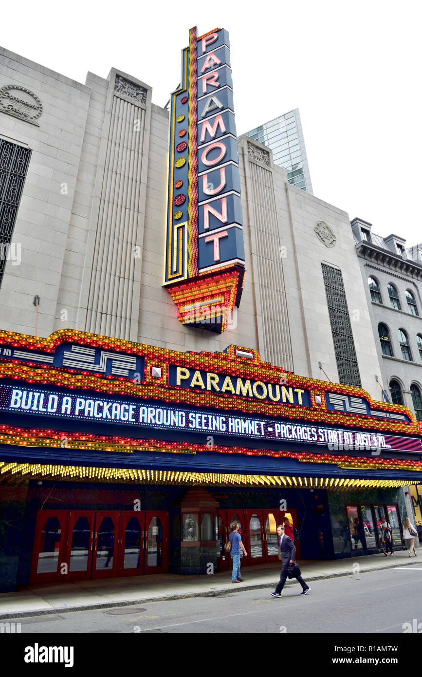 Paramount Theater with its colourful signage on Washington Street in Boston Theatre District, Massachusetts, USA - Stock Image