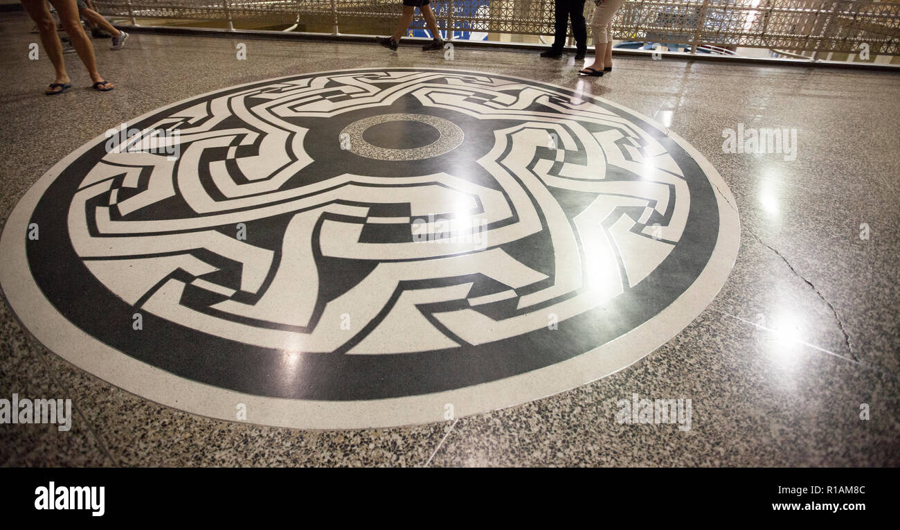 terrazzo floor mosaic inside the powerplant at hoover dam designed by Alan Tupper True - Stock Image