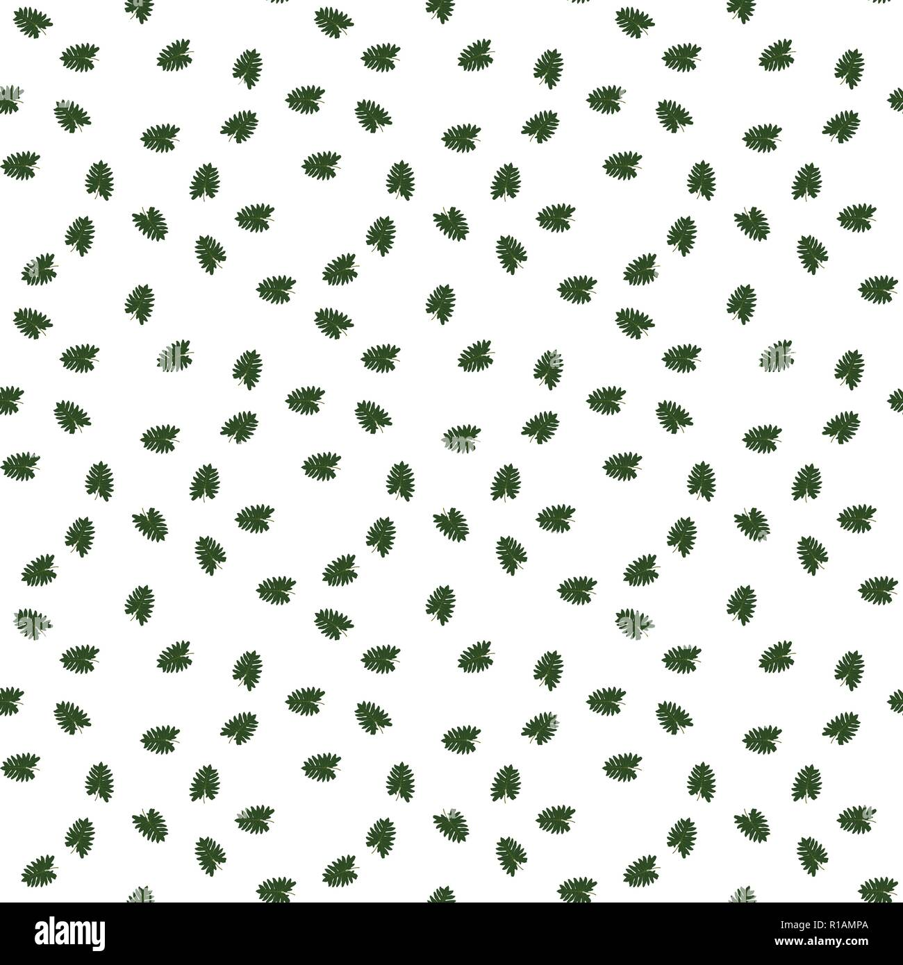 Silhouette Of Leaf Trees On White Background Seamless Pattern Vector Illustration
