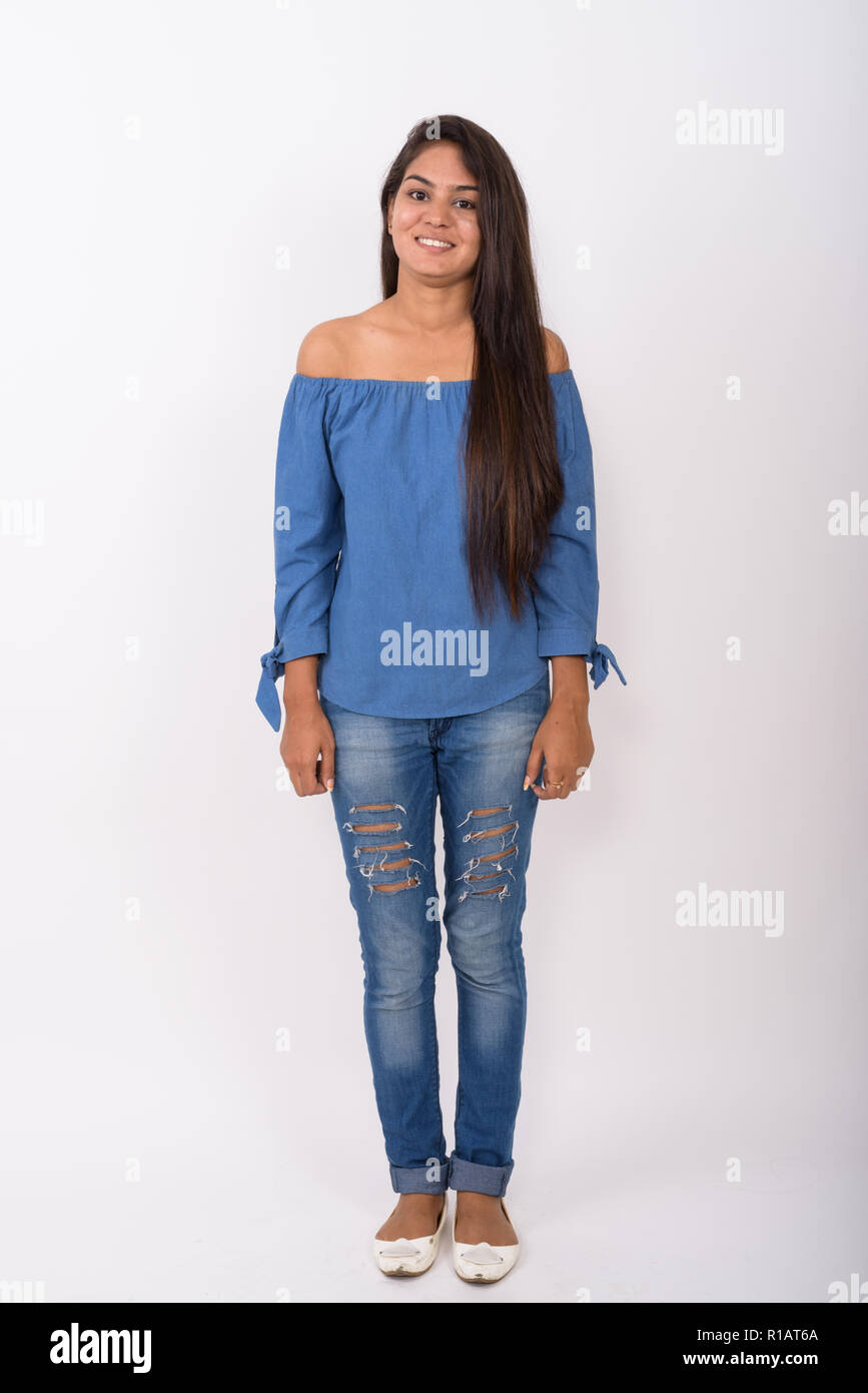 Full pic girl Full Body Shot Of Young Happy Indian Woman Smiling And Standing Stock Photo Alamy