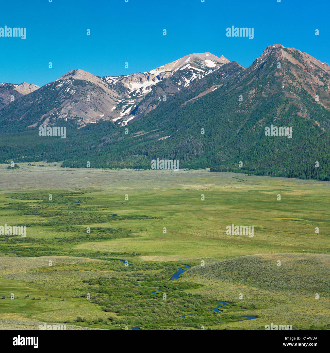 centennial mountains above red rock creek valley near red rock pass east of lakeview, montana - Stock Image