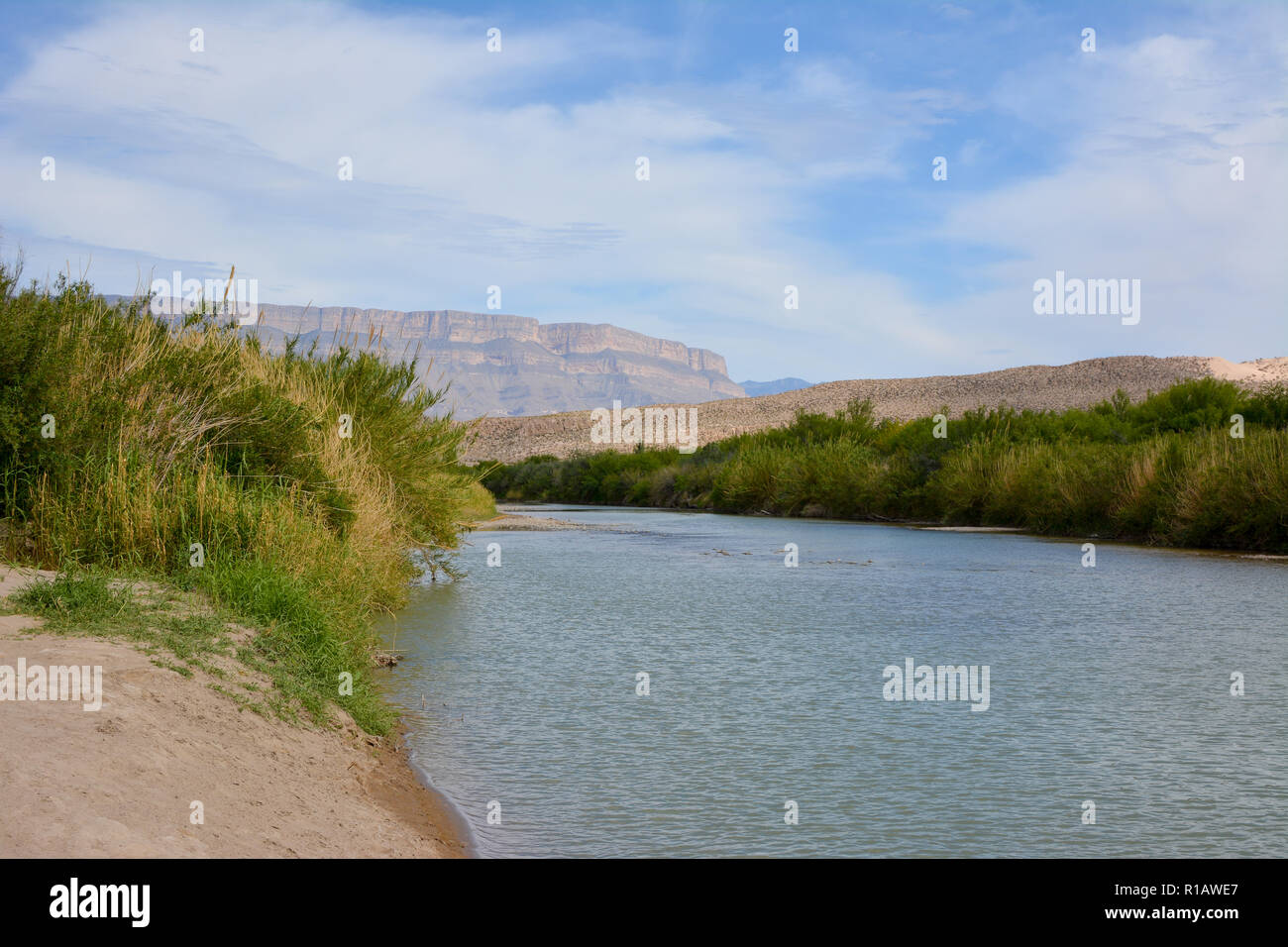 The Rio Grande river flowing along the U.S. Mexico border in Big Bend National Park. Stock Photo