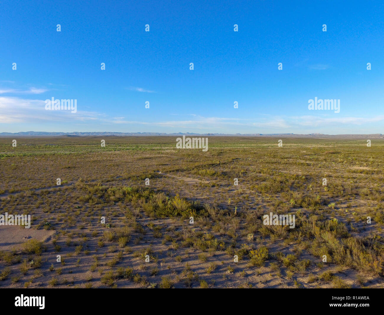 Aerial photograph of the southwest Texas desert landscape outside of Big Bend National Park, near the U.S. and Mexico International Border. - Stock Image