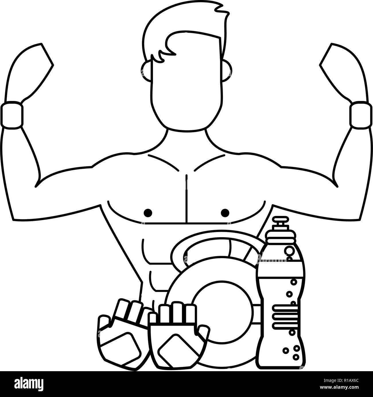 man flexing biceps stock vector images alamy Arm Veins Black man flexing muscular arms and kettlebell with water and gloves in black and white vector illustration
