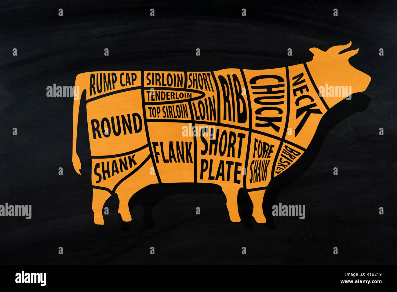 Cut of beef for Butcher shop on blackboard . - Stock Image