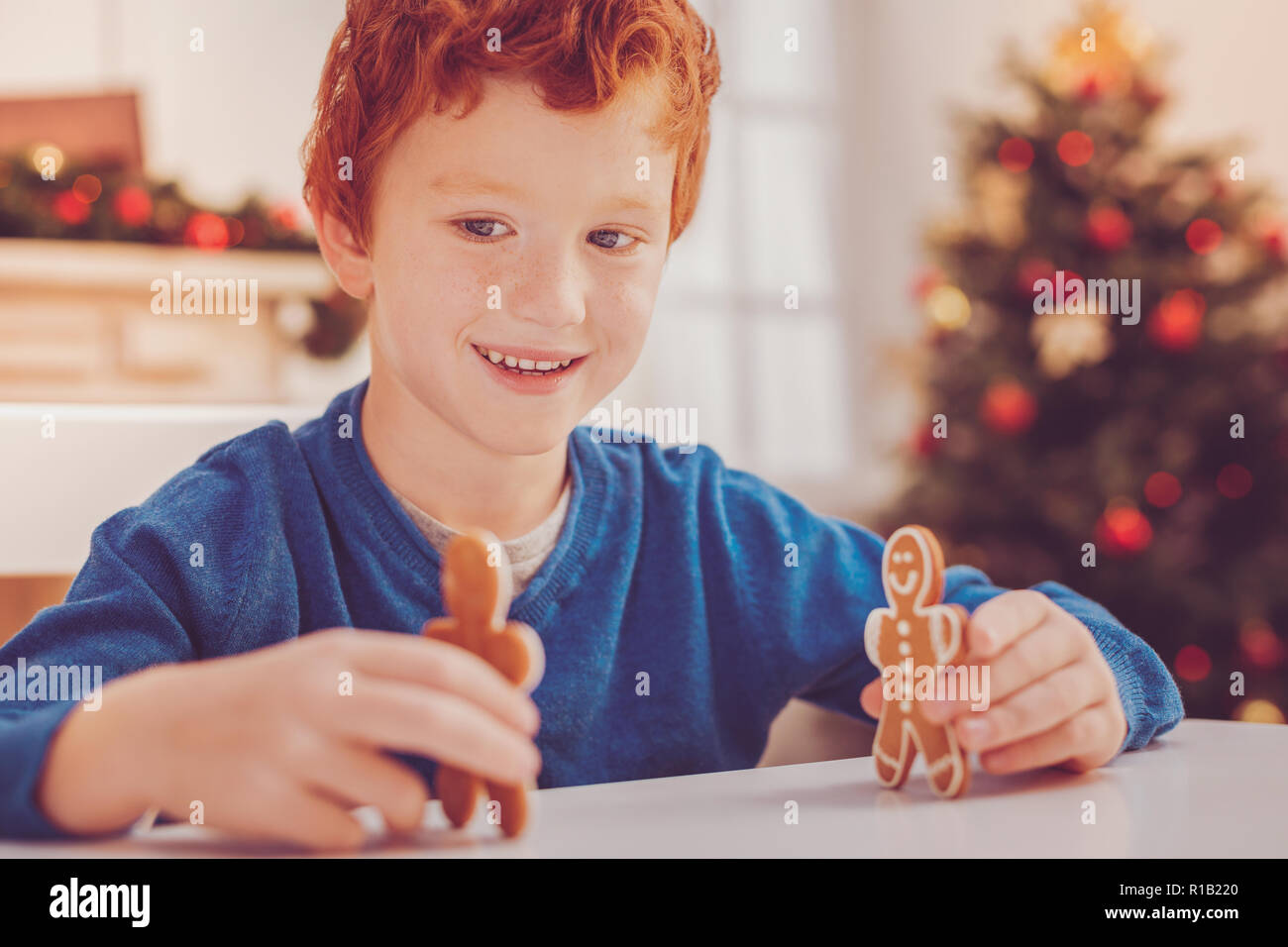 Upbeat preteen boy playing with two gingerbread men - Stock Image