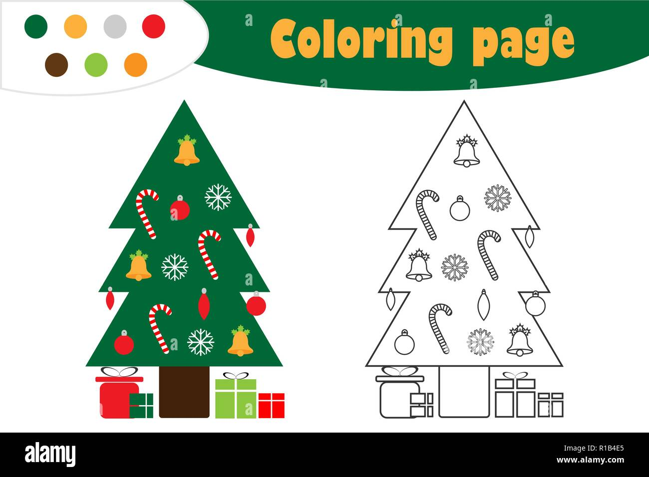 Xmas Tree In Cartoon Style Christmas Coloring Page Education Paper Game For The Development Of Children Kids Preschool Activity Printable Workshee Stock Vector Image Art Alamy
