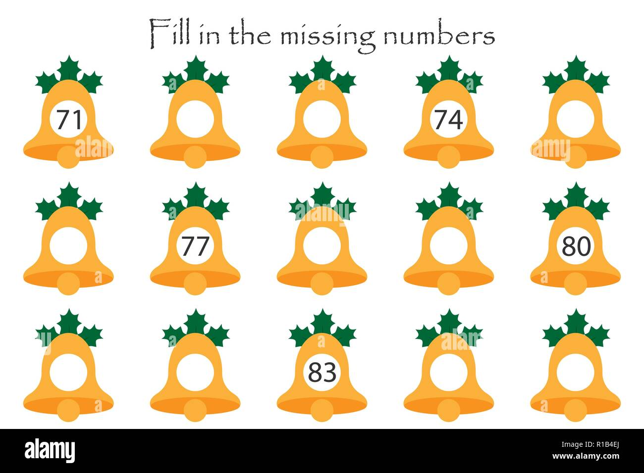 Game with christmas bells for children, fill in the missing numbers ...