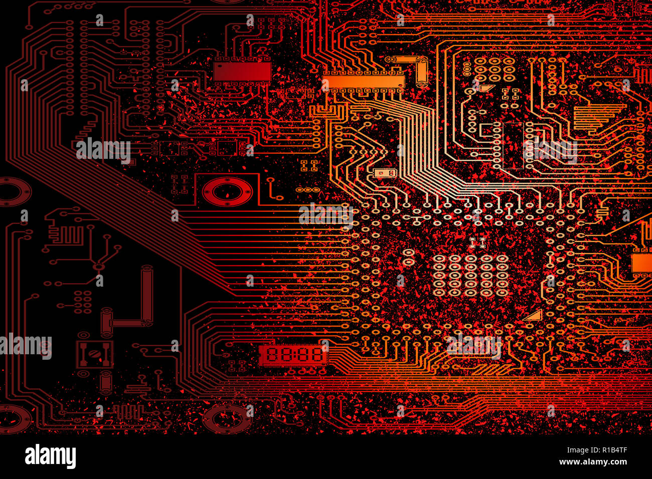 Circuit electronic board. Computer hardware part. Motherboard digital chip. Technologie science illustration. Integrated CPU microchip. Modern cyber p - Stock Image