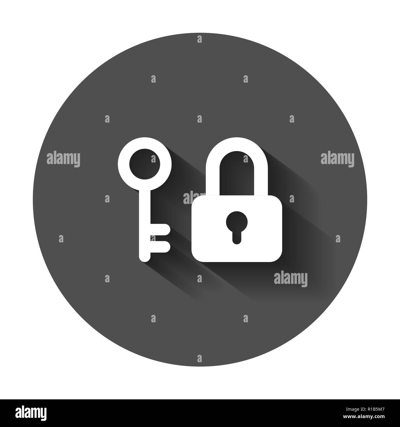 Key with padlock icon in flat style. Access login vector illustration with long shadow. Lock keyhole business concept. - Stock Image