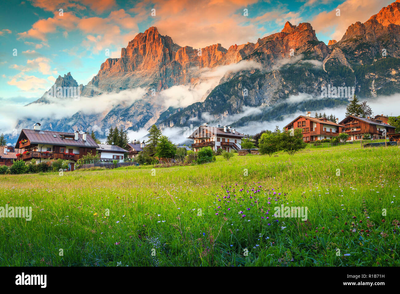 fabulous mountain resort in the dolomites, colorful spring flowers