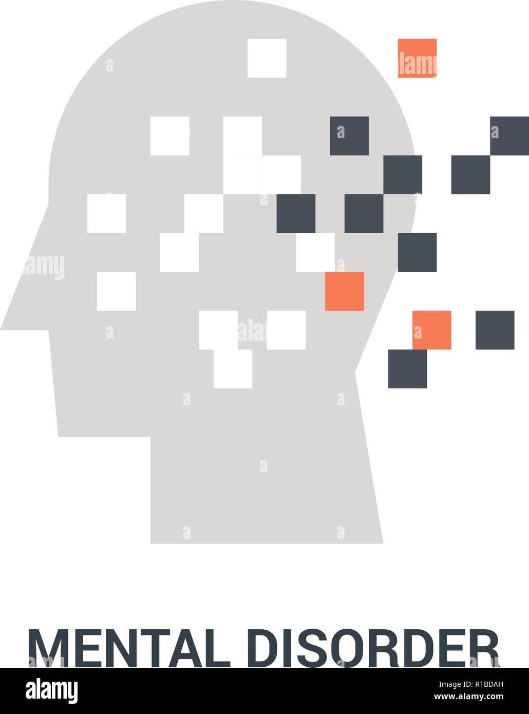 mental disorder icon concept - Stock Image