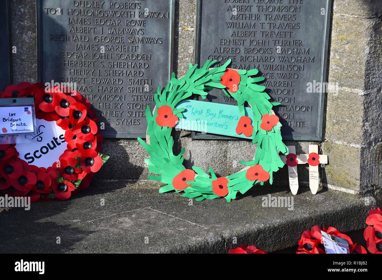 Bridport, Dorset, UK  11th November 2018  Wreaths at the