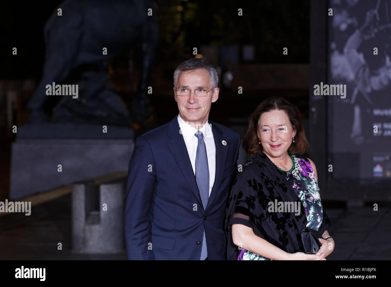 Paris, France. 10th Nov, 2018. Arrival of North Atlantic Treaty Organization Secretary General Jens Stoltenberg and his wife Ingrid Schulerud for dinner in the presence of the heads of state, government and international organization leaders during the international commemoration of the centenary of the 1918 armistice at the Musée d'Orsay in Paris on November 10, 2018 in Paris, France. Credit: Bernard Menigault/Alamy Live News Stock Photo