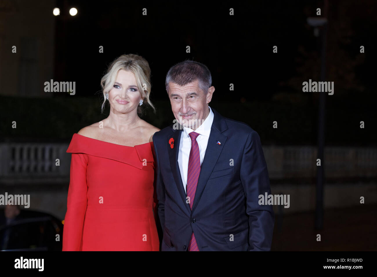 Paris, France. 10th Nov, 2018. Arrival of Prime Minister of the Czech Republic Andrej Babis with his wife Monika Babisova  for dinner in the presence of the heads of state, government and international organization leaders during the international commemoration of the centenary of the 1918 armistice at the Musée d'Orsay in Paris on November 10, 2018 in Paris, France. Credit: Bernard Menigault/Alamy Live News - Stock Image