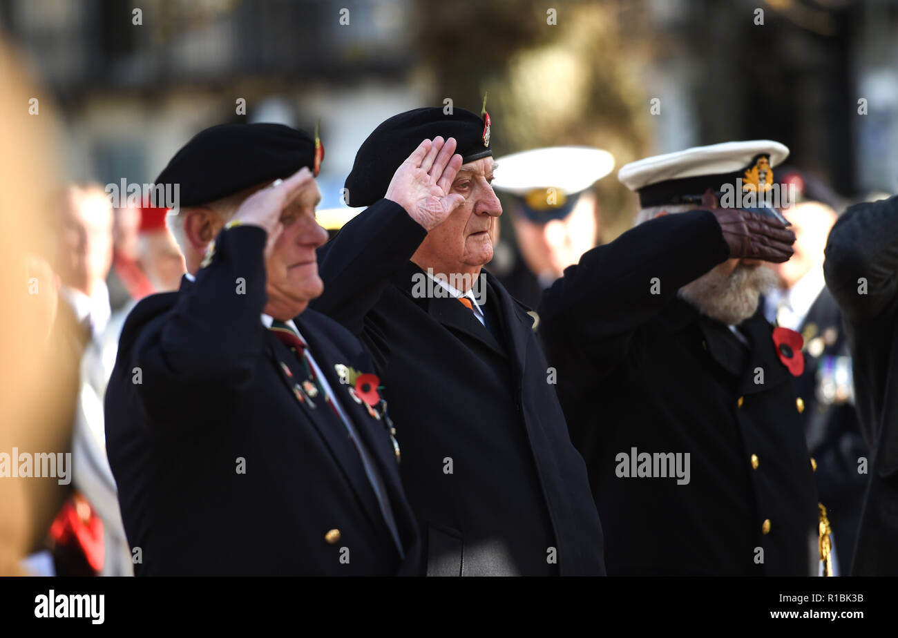 Brighton UK 11th November 2018 -Thousands turned out for the Act of Remembrance Service held at Brighton war memorial . It is the 100 year anniversary today of the ending of World War One on the 11th November 1918 . Photograph taken by Simon Dack Credit: Simon Dack/Alamy Live News - Stock Image