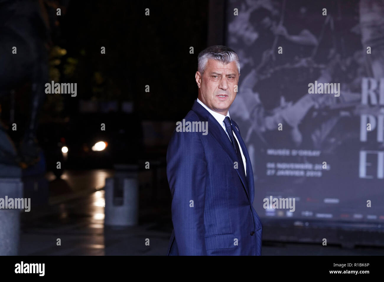 Paris, France. 10th Nov, 2018. Arrival of Kosovo's President Hashim Thaci for dinner in the presence of the heads of state, government and international organization leaders during the international commemoration of the centenary of the 1918 armistice at the Musée d'Orsay in Paris on November 10, 2018 in Paris, France. Credit: Bernard Menigault/Alamy Live News Stock Photo