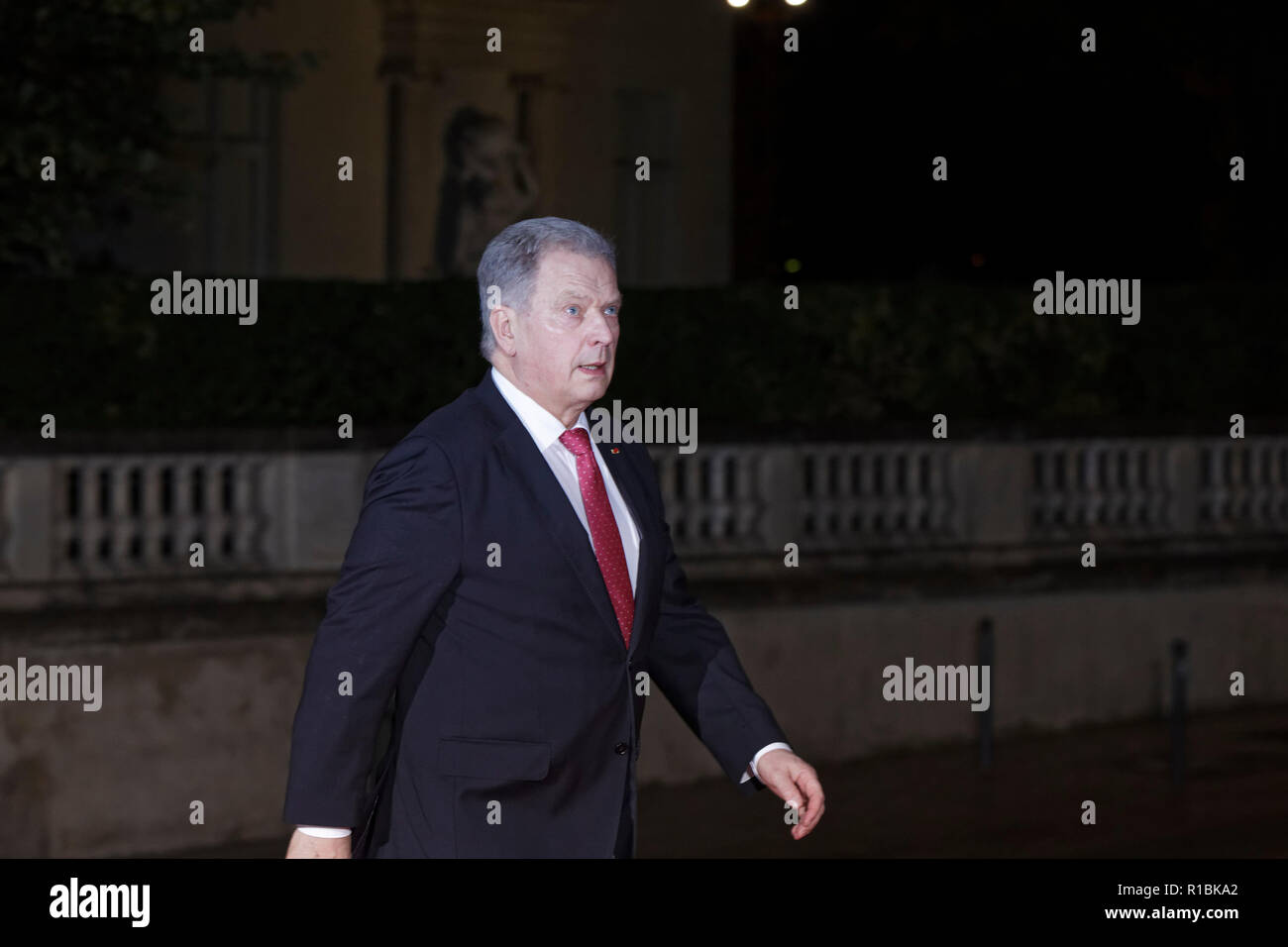 Paris, France. 10th Nov, 2018. Arrival of President of the Republic of Finland Sauli Niinisto for dinner in the presence of the heads of state, government and international organization leaders during the international commemoration of the centenary of the 1918 armistice at the Musée d'Orsay in Paris on November 10, 2018 in Paris, France. Credit: Bernard Menigault/Alamy Live News - Stock Image