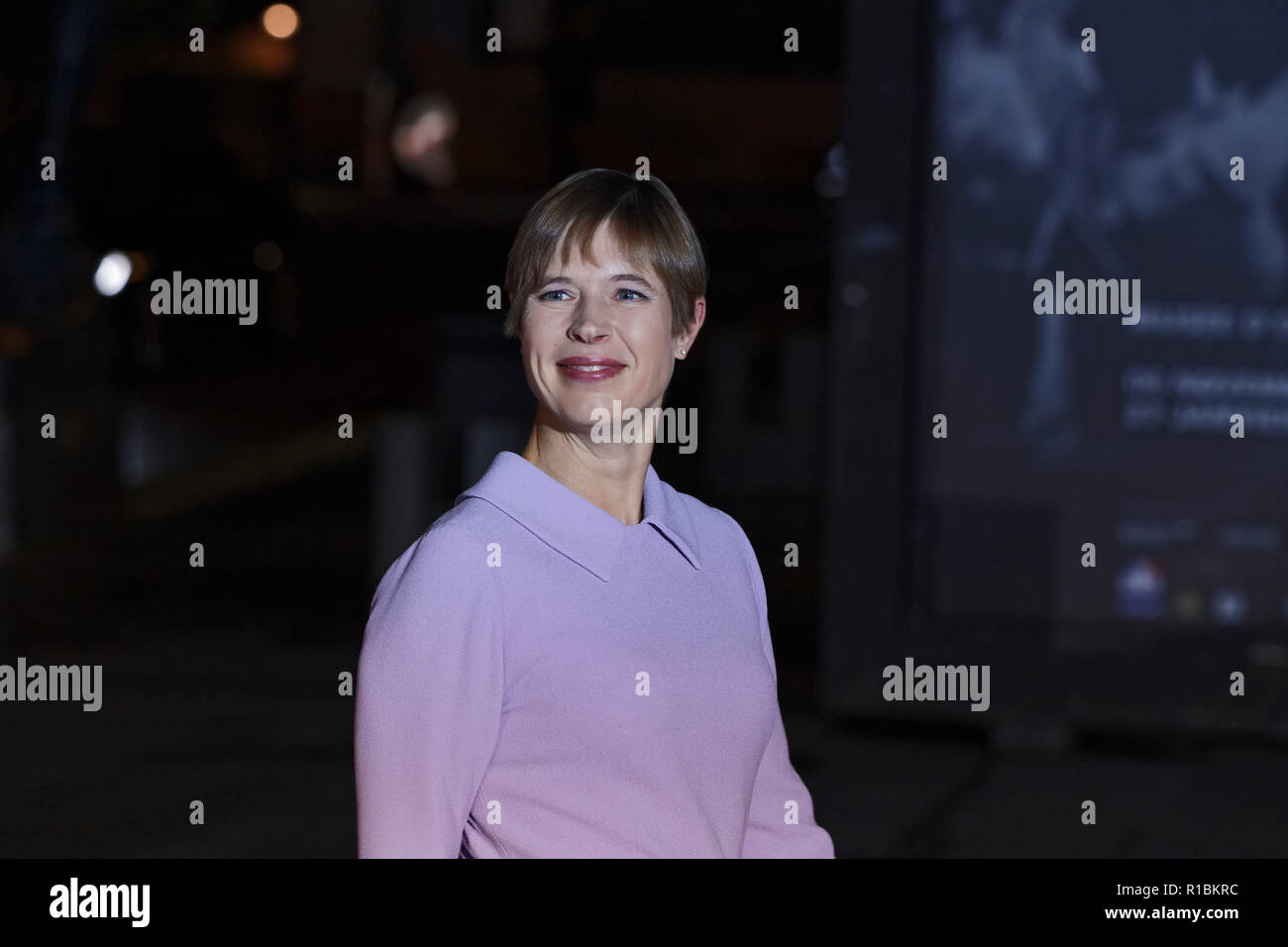 Paris, France. 10th Nov, 2018. Arrival of President of the Republic of Estonia Kersti Kaljulaid for dinner in the presence of the heads of state, government and international organization leaders during the international commemoration of the centenary of the 1918 armistice at the Musée d'Orsay in Paris on November 10, 2018 in Paris, France. Credit: Bernard Menigault/Alamy Live News Stock Photo
