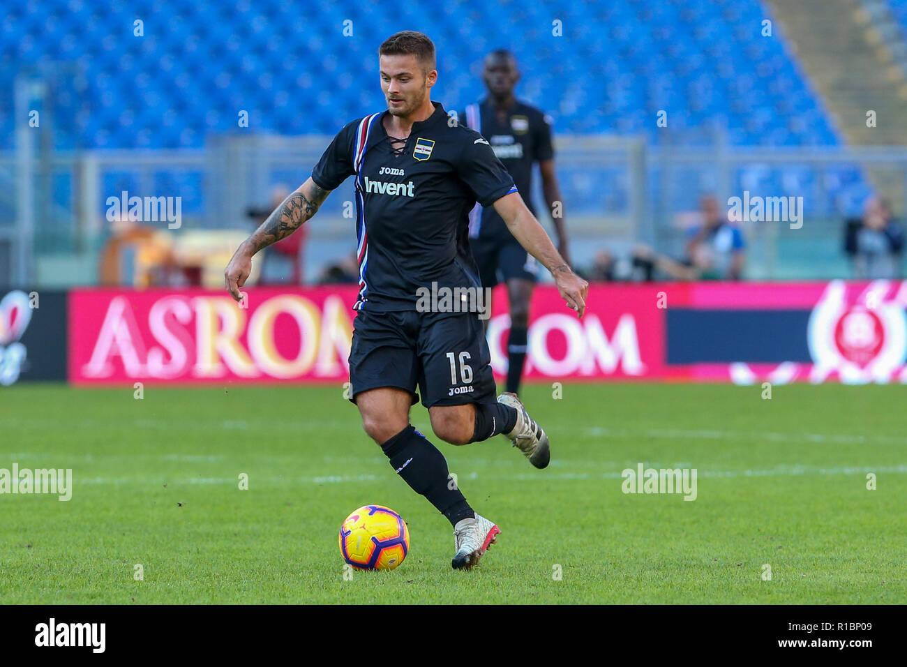 11th November 2018, Stadio Olimpico, Rome, Italy; Serie A Football, Roma versus Sampdoria; Karol Linetty of Sampdoria controls the ball as he breaks forward Stock Photo