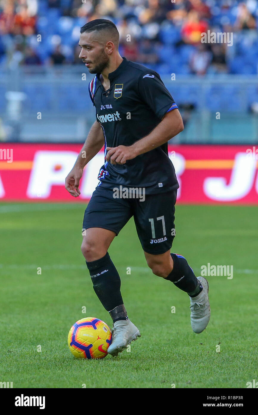 11th November 2018, Stadio Olimpico, Rome, Italy; Serie A Football, Roma versus Sampdoria; Gianluca Caprari of Sampdoria controls the ball along the line Stock Photo
