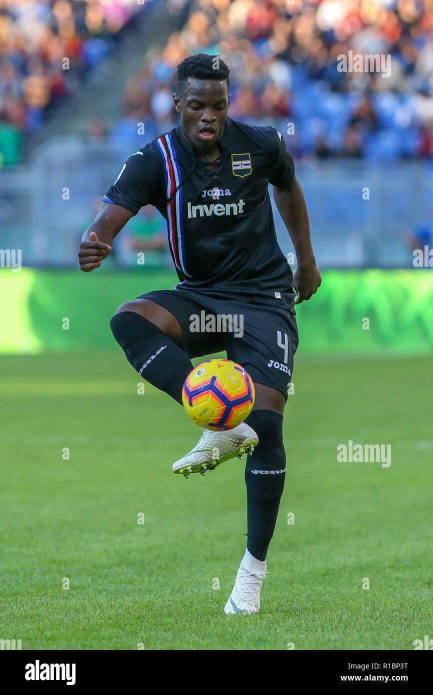 11th November 2018, Stadio Olimpico, Rome, Italy; Serie A Football, Roma versus Sampdoria; Ronaldo Vieira of Sampdoria controls the high ball Stock Photo