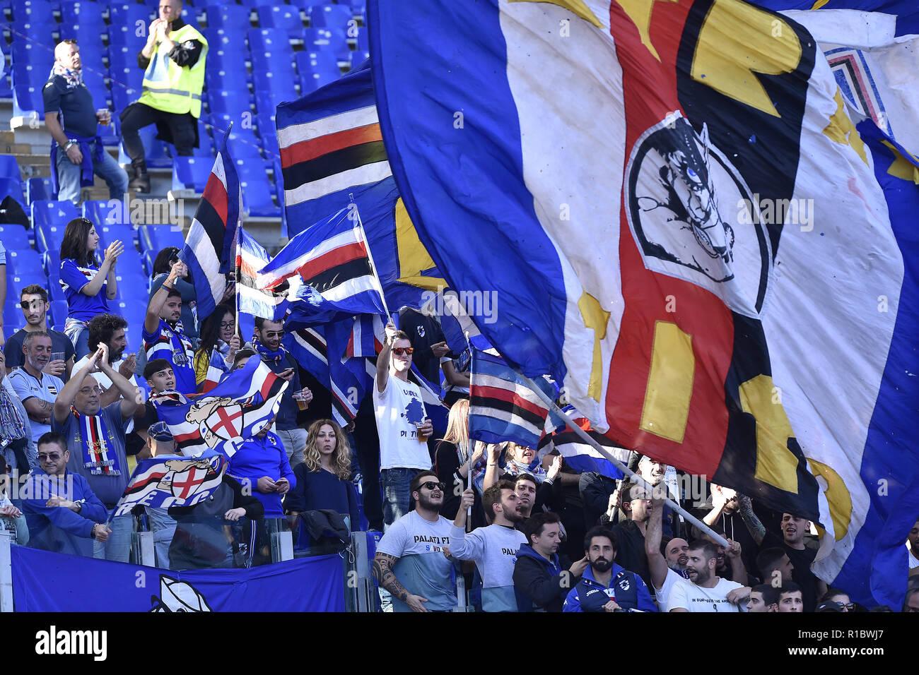 Rome, Italy. 11th Nov 2018. Sampdoria supporters during the Serie A match between Roma and Sampdoria at Stadio Olimpico, Rome, Italy on 11 November 2018. Credit: Giuseppe Maffia/Alamy Live News Stock Photo