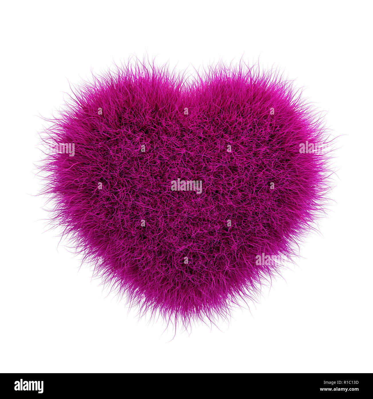 Cute fluffy pink heart shape on white. 3D rendering - Stock Image