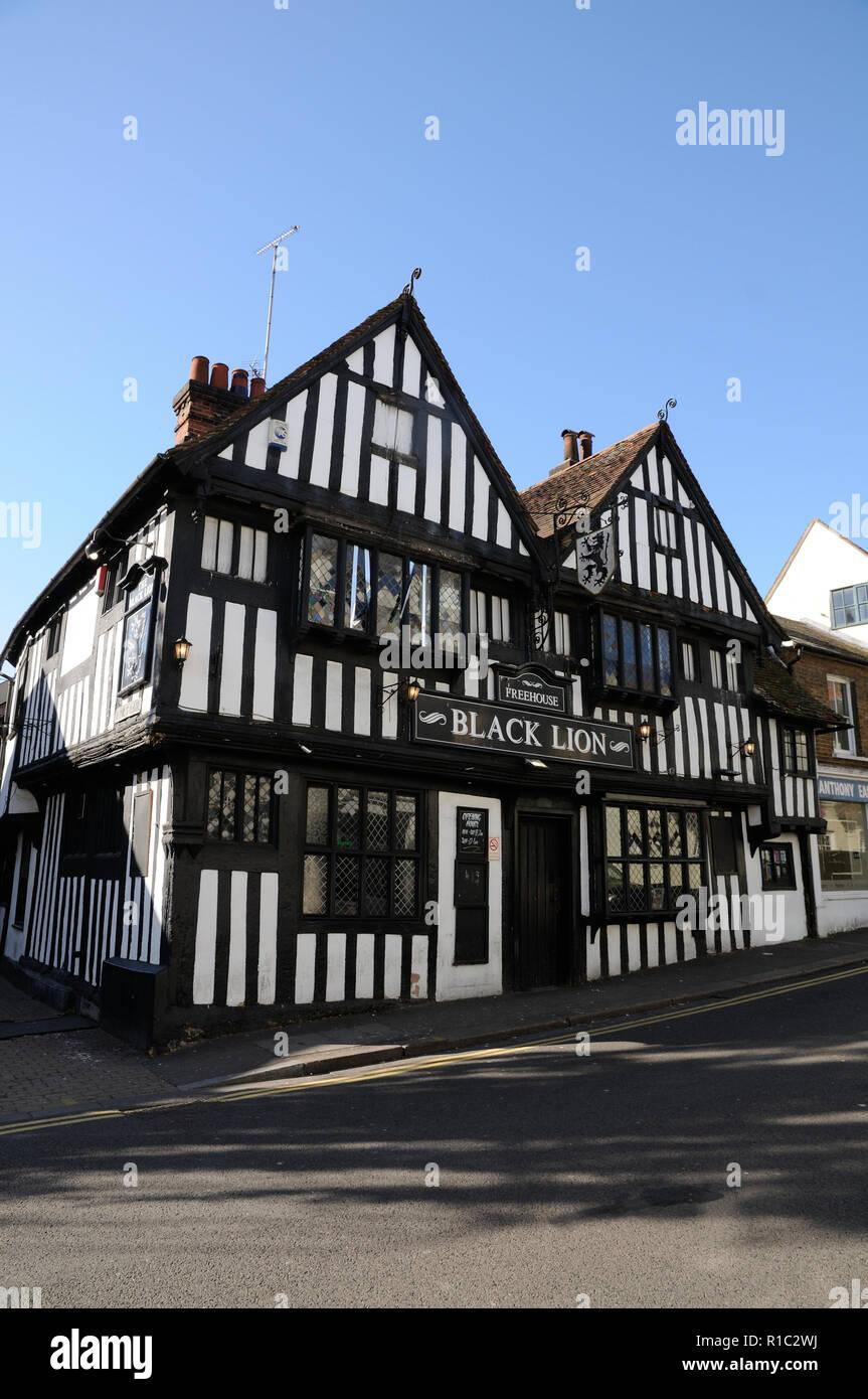 Black Lion Inn, Bridge Street, Bishops Stortford, Hertfordshire.  The inn dates to the 16th century. Stock Photo