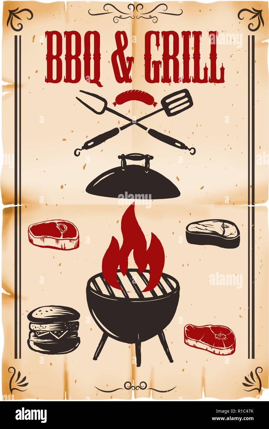 bbq grill poster template with grill illustration on grunge