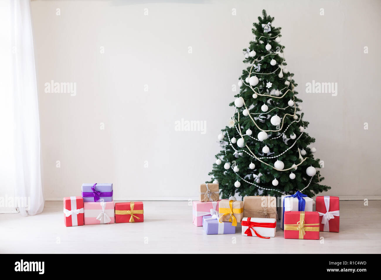 happy new year christmas home interior gifts toys tree winter holidays stock image