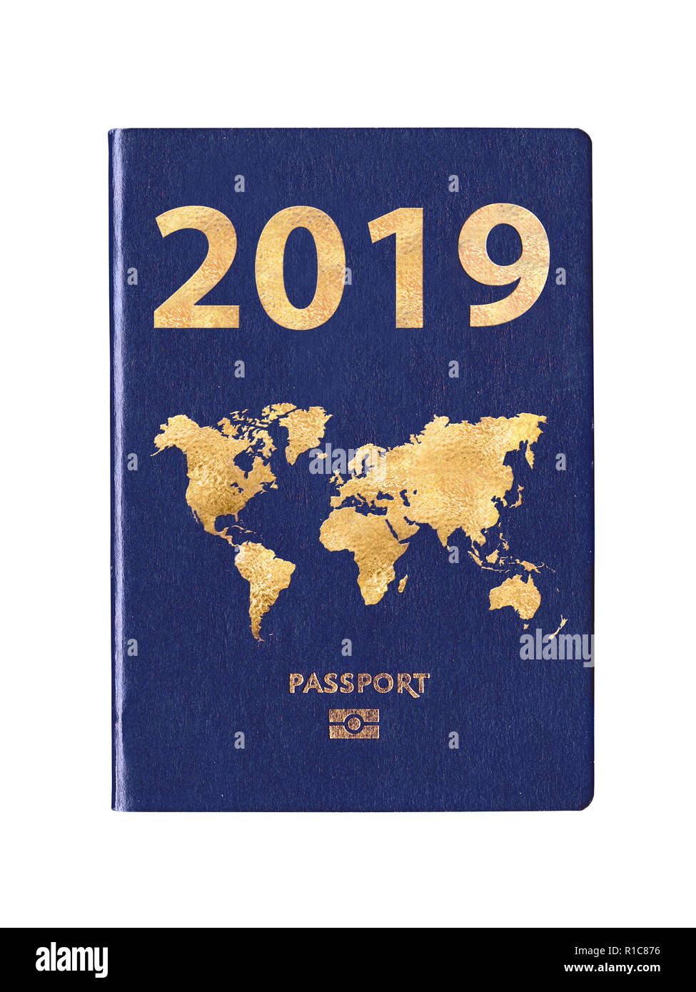Passport 2019 with a world map on the cover, concept - Stock Image