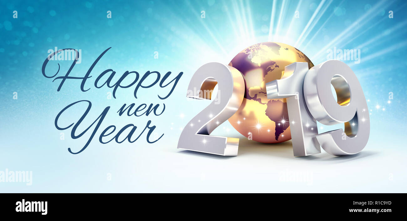 Happy New Year greetings and 2019 silver date number composed with a ...