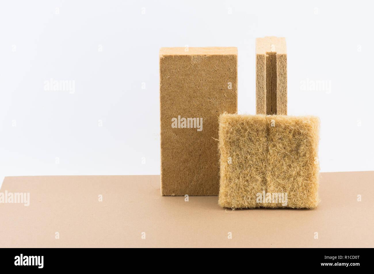 natural fibers wall insulating materials - hemp fiber panel - Stock Image