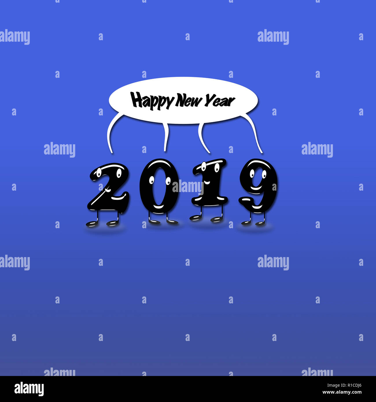 cartoon of 2019 numerals with speech bubble with text happy new year on blue background 3d rendering