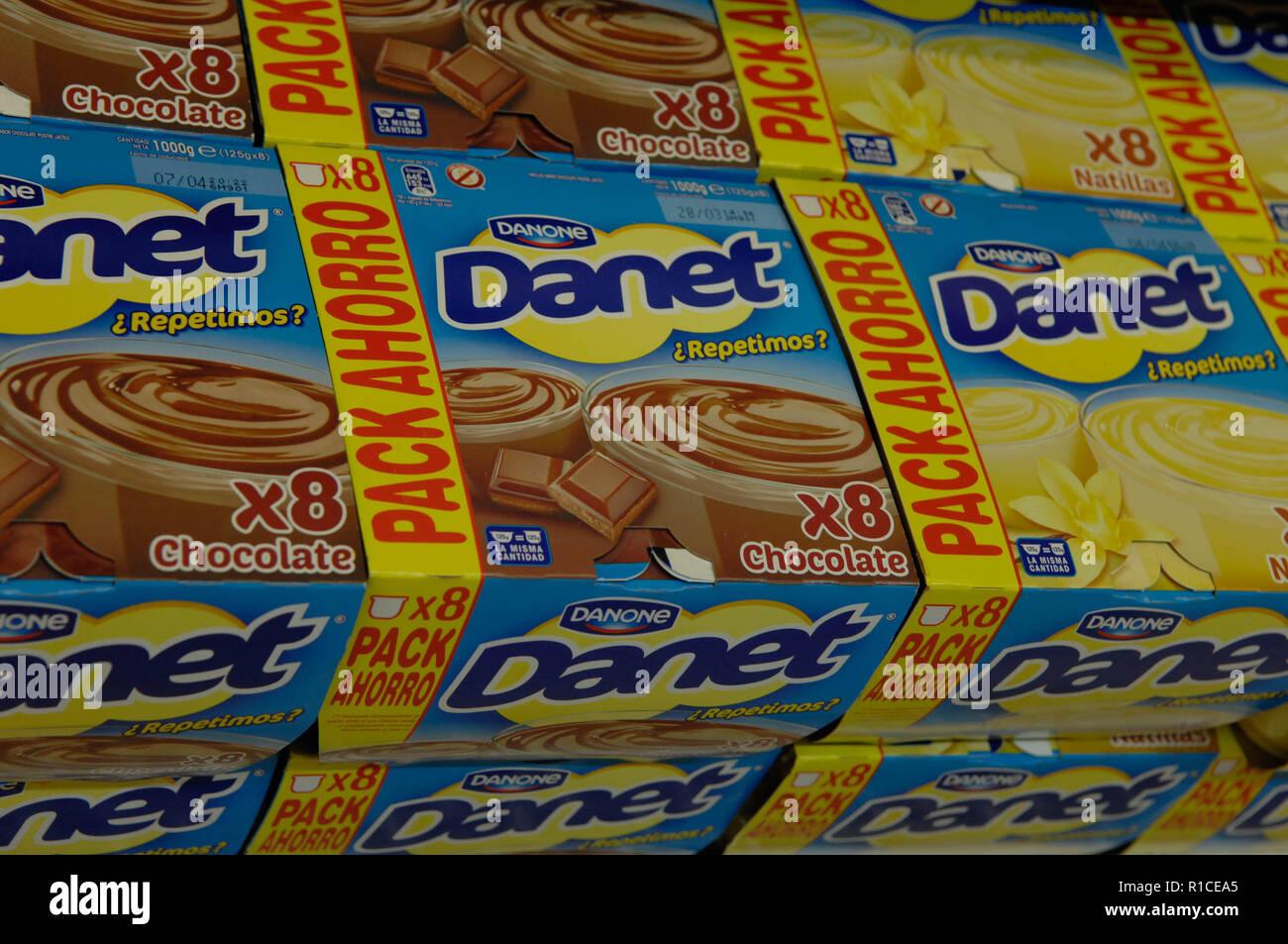 Danone,Danet,custard Stock Photo