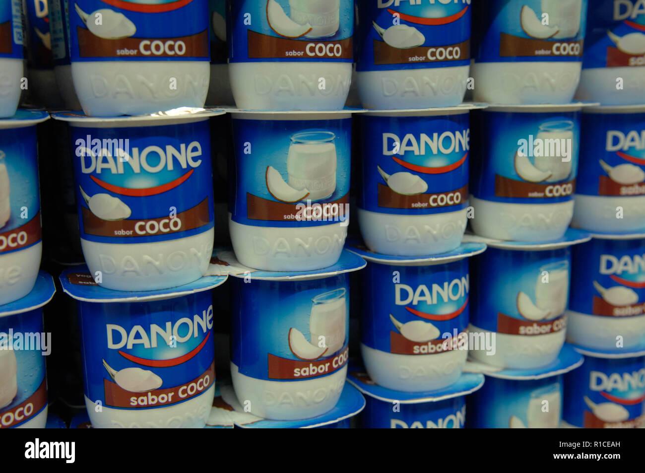 Danone,yoghurt,coconut Stock Photo