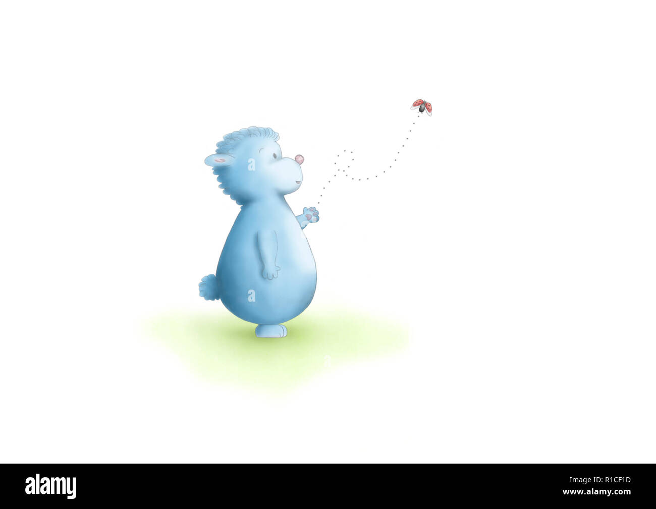 cute hand drawn illustration of blue fantasy animal standing, looking at flying ladybug, on white background Stock Photo