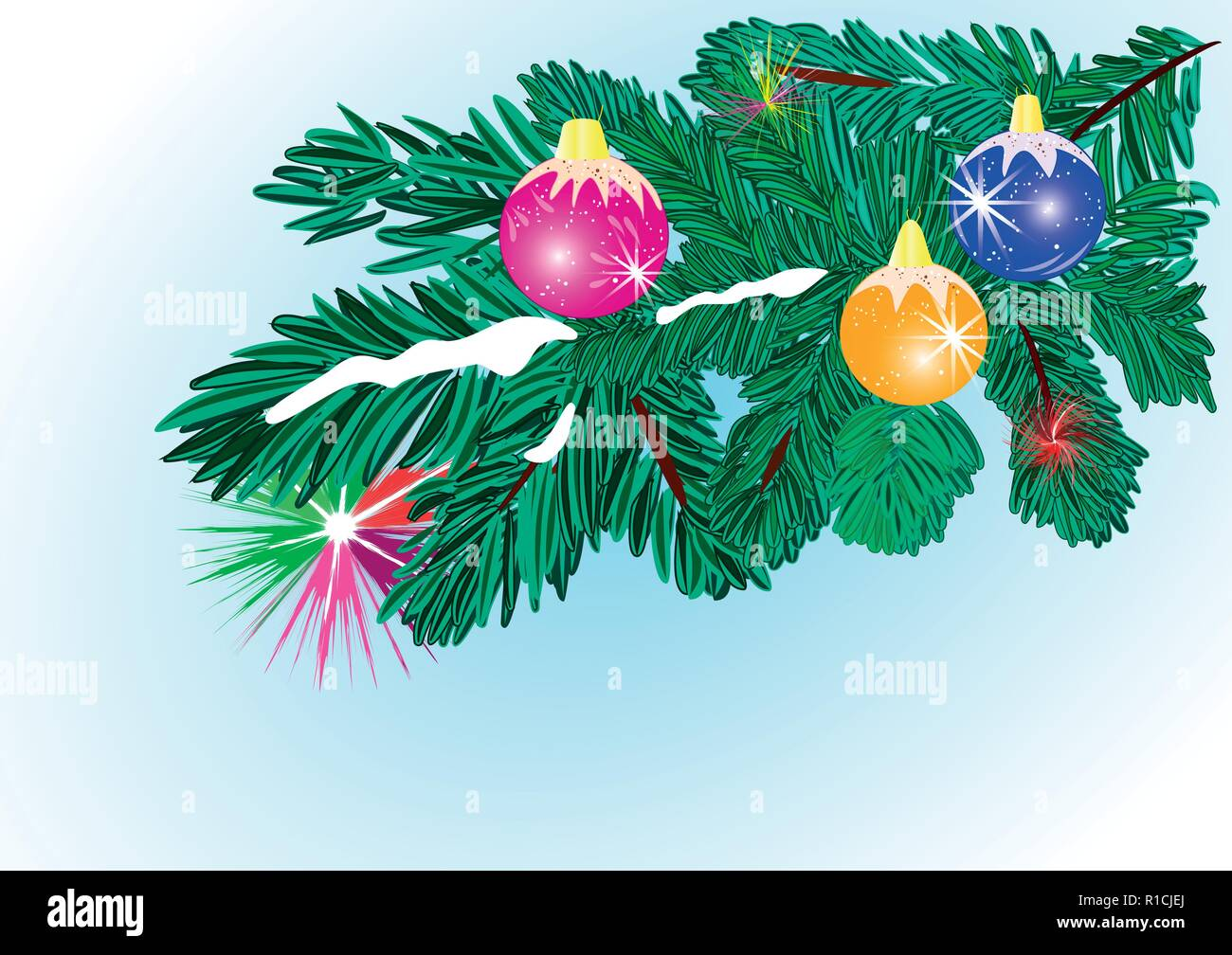 Christmas tree and ornaments. Hanging gold ,red, blue balls, Vector - Stock Vector