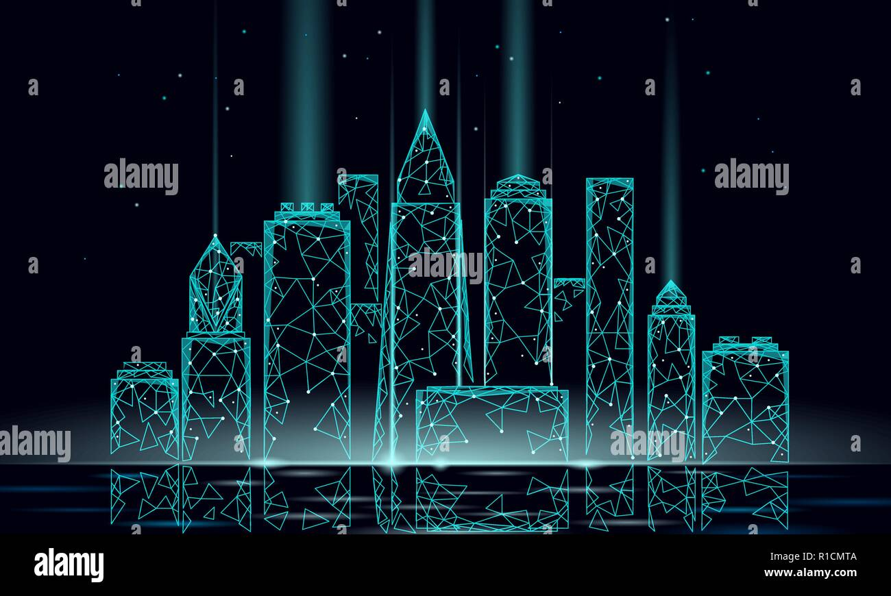 Smart city 3D polygonal wire mesh. Intelligent building automation system business concept. Water reflection texture light. Architecture urban cityscape technology sketch banner vector illustration - Stock Vector