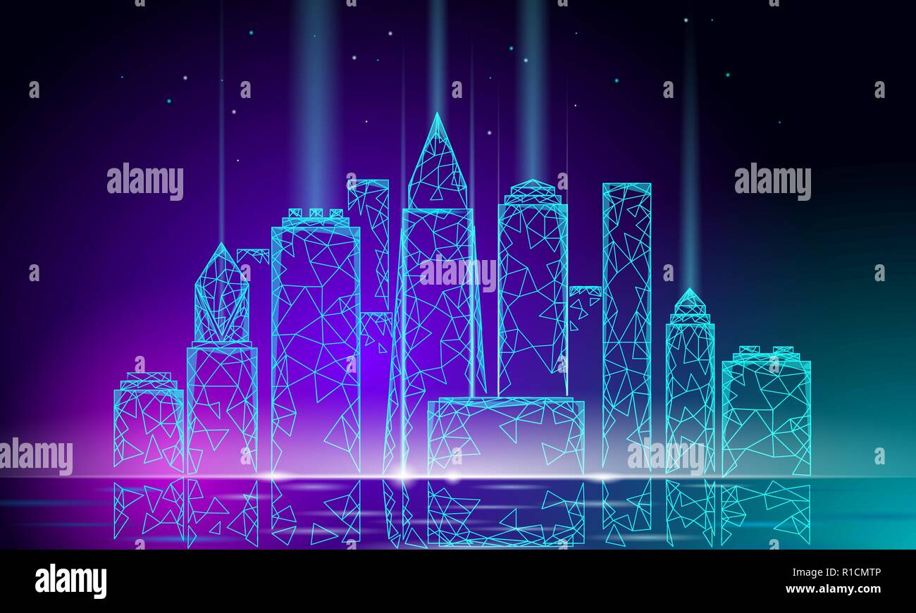 Neon glow smart city 3D polygonal wire mesh. Intelligent building automation system business concept. Water reflection texture light. Architecture urban cityscape technology banner vector illustration - Stock Vector