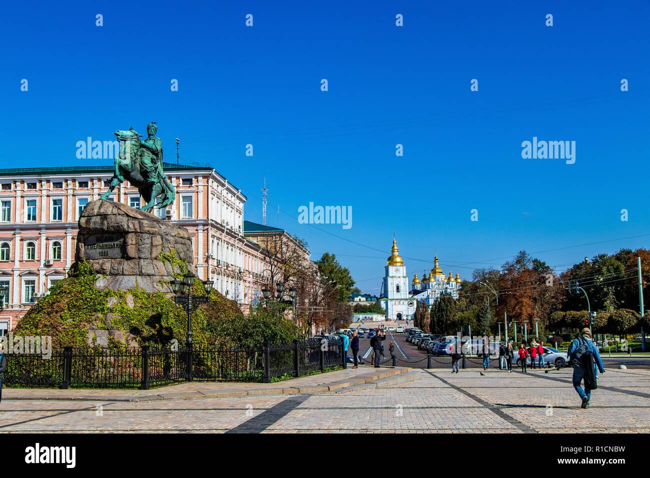 Bogdan Khmelnytsky monument in Sofia area ,city center Kiev, Ukraine 06.11.2018 - Stock Image