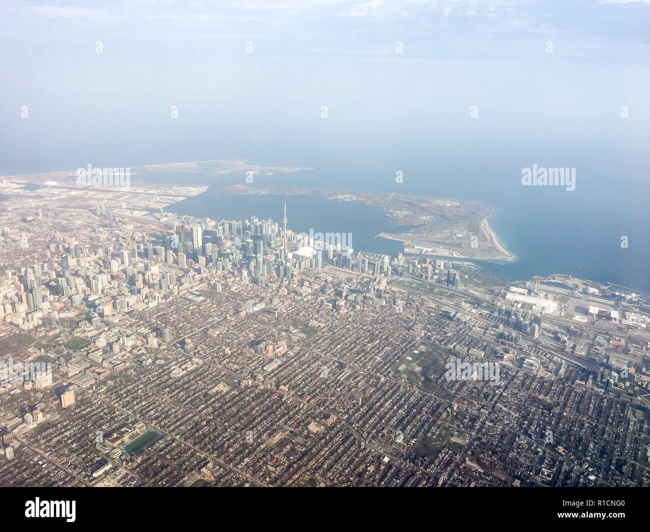 ARIAL VIEW OF TORONTO, ONTARIO, CANADA. - Stock Image
