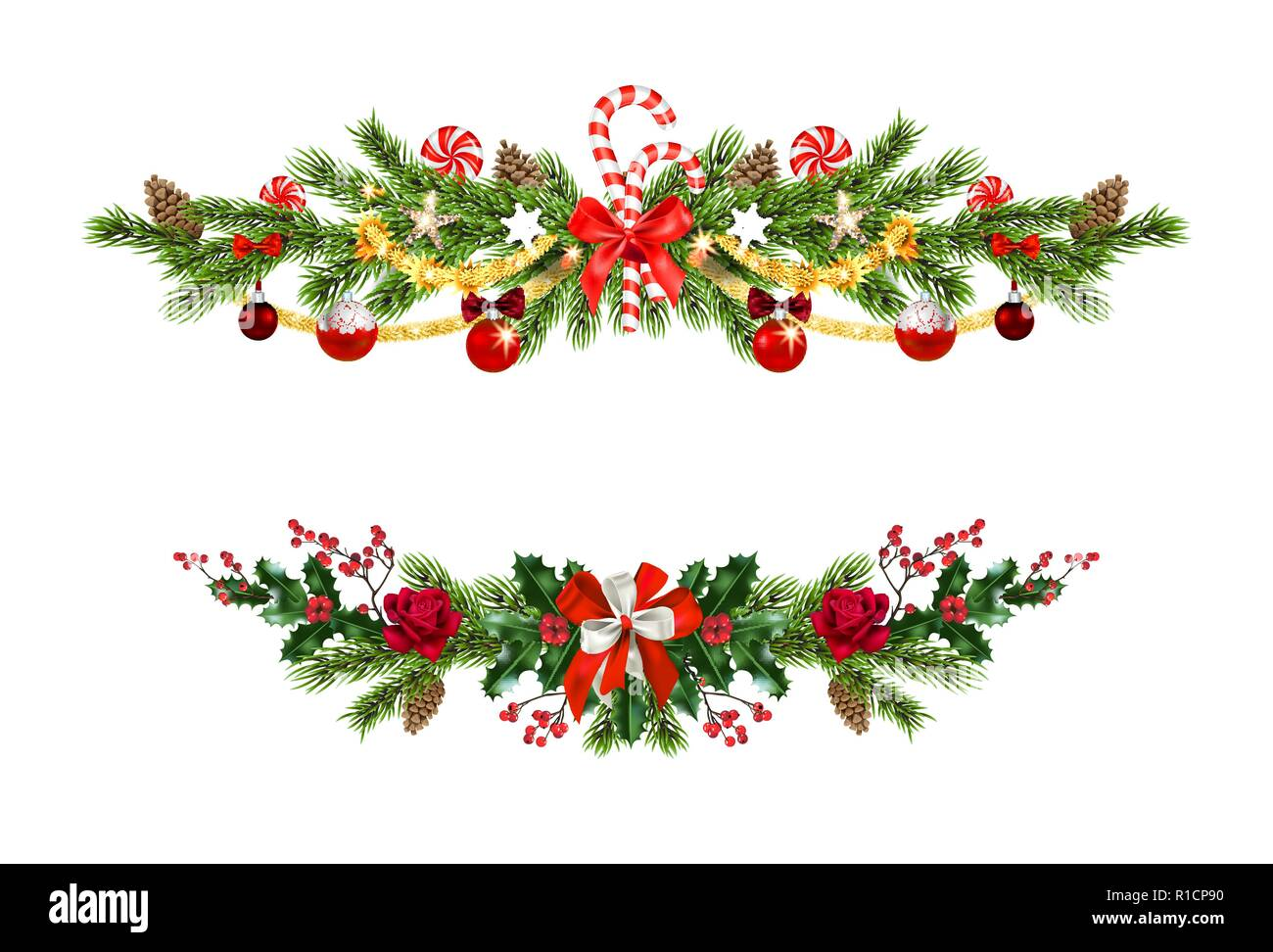 Holiday pine decor set - Stock Vector