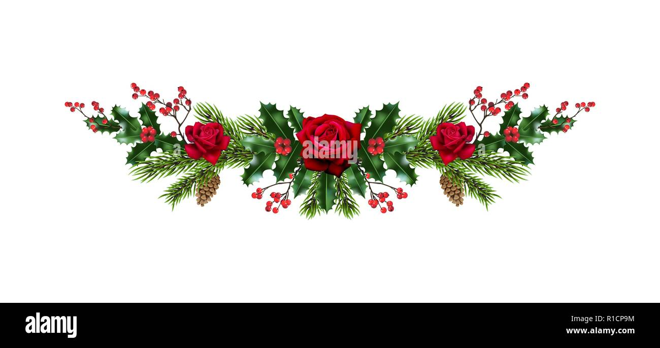 Roses and pine decor - Stock Vector