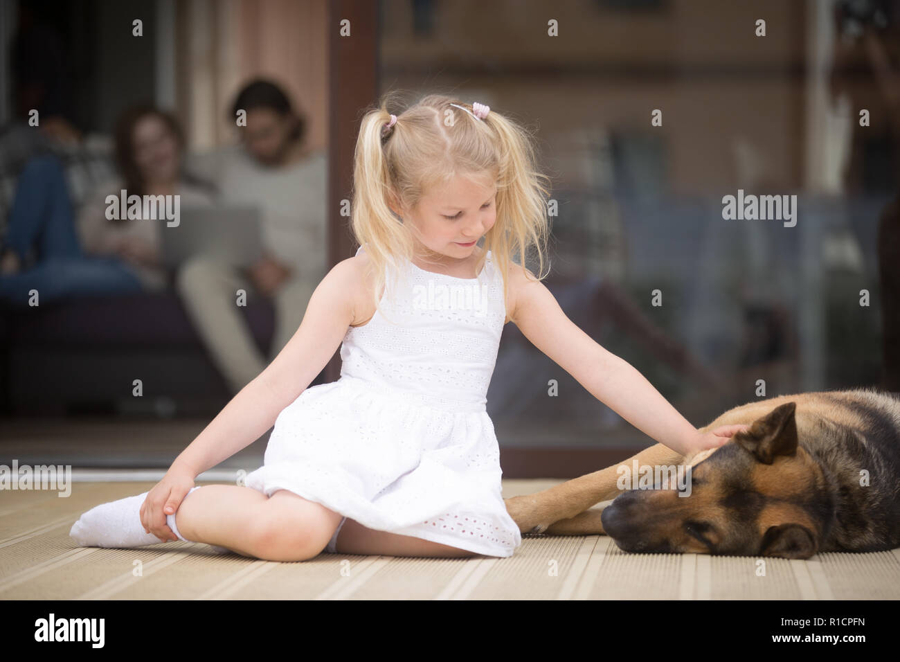 Little girl with big shepherd dog on terrace at home - Stock Image
