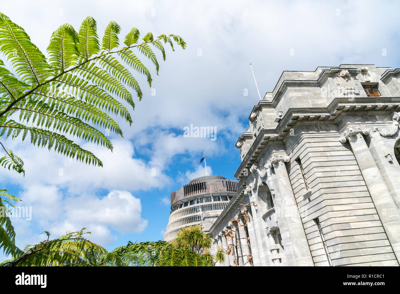 New Zealand Government buildings, House neo classical style House of Parliament with Beehive behind with iconic ponga fern frond one of NZ's emblems. Stock Photo