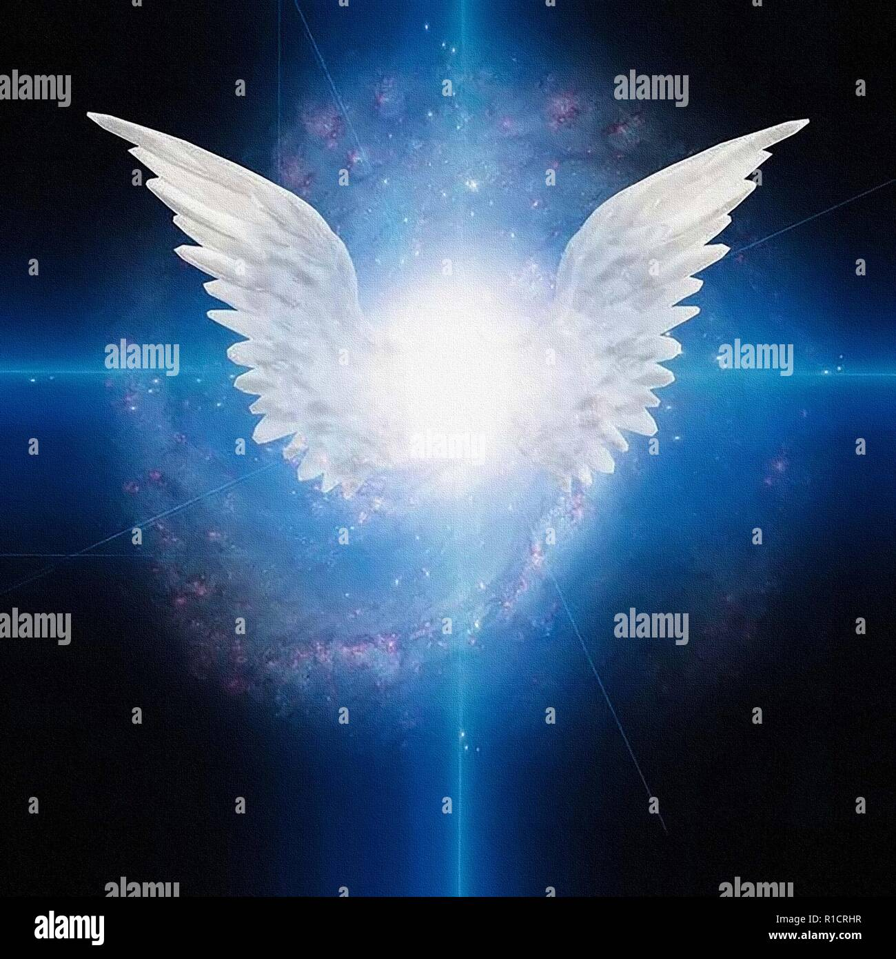Bright star with white angels wings galaxy in deep space