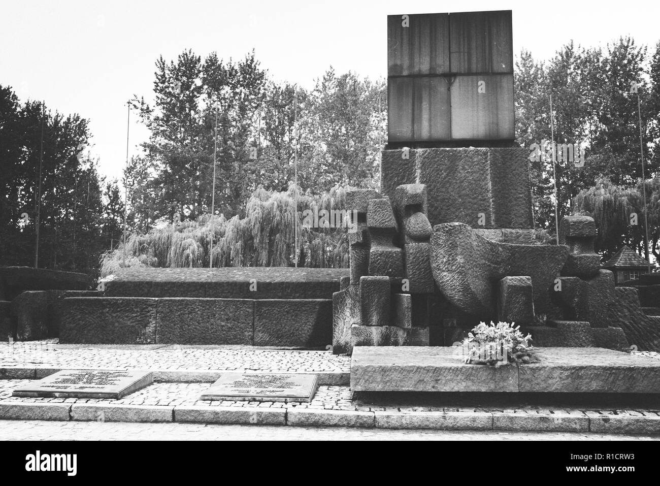 Auschwitz II Birkenau, Nazi concentration and extermination camp. Memorial to 1.5 million murdered by Nazis. Auschwitz, German-occupied, Poland, Europ Stock Photo